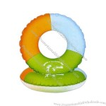 Heavy vinyl inflatable swim ring, frosted colors.