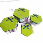Hexagon Shape Gift Boxes, Cardboard Boxes With Ribbon Bow On Top Of Box