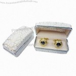 High-glossy Crocodile Pattern Finished Plastic Cufflink Jewelry Gift Box with Luxury Velvet Lining