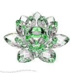 """High Quality Green Hue Reflection Crystal Lotus Flower 3"""""""