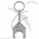 House Shaped Trolley Coin Keychain with Nickel Finish