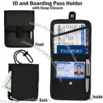 ID Boarding Pass Holder Snap Closure Secure Passport Travel Wallet Neck