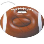 Inflatable brown football seat cushion with white markings