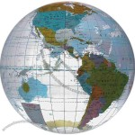 "Inflatable clear globe design beach ball with multicolor countries, 24""."