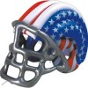 Inflatable patriotic blue-white-red football helmet with silver face mask