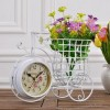 Iron Bicycle Double Faced Clock With Flower Vase