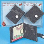 Jeans glitter notebook and pencil key chain holder