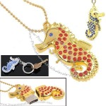 Jewelry Rhinestone Sea Horse USB Flash Drives