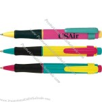 Jumbo pen with comfort rubber gripper, colored plunger and clip