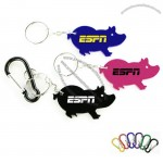 Jumbo Size Pig Shape Aluminum Bottle Opener W/ Split Key Ring And Carabiner