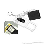 Key chain with 4X magnifier and light. Uses 3 button cell batteries.
