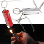Keychain Multi-function Lighter + Scissors + Blade + Bottle Opener + Screwdriver