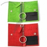 Keychain Wallet - Croco embossed two-toned leather