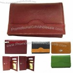 "Ladies' 6"" tri-fold leather wallet"