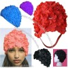 Ladies Silicone Tender Flower Swimming Cap