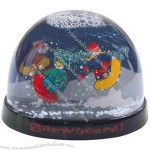Large globe two-level water ball with clear acrylic panel in center of dome