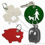 Laser-cut Felt Free Form Keychains with Metal Eyelet Punched
