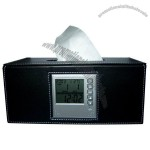 LCD Clock With Tissue Box