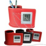 LCD Leather Alarm Clock with Thermometer and Pen Holder