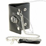Leather Chain Wallet with Chrome Skull