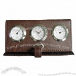 Leather Clock with thermometer and hygrometer(1)