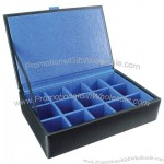 Leather Eclipse 15 Cufflink Box Blue