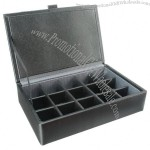 Leather Eclipse 15 Cufflink Box Grey