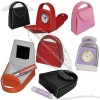 Leather Handbag Shaped Travel Alarm Clock with Lipstick Storage
