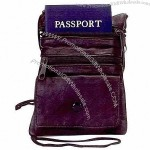 Leather neck hanging passport holder with adjustable neck string