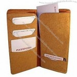 Leather Passport Boarding Pass Ticket Wallet Tan