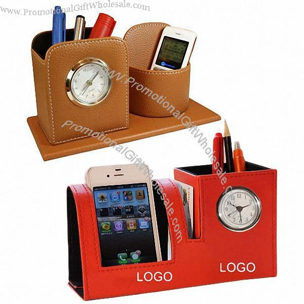 hot sale online c3dda 57ae3 Leather Pen Holder with Alarm Clock and Cell Phone Holder Discount ...