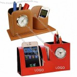 Leather Pen Holder with Alarm Clock and Cell Phone Holder