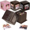 Leather Photo Cube Holds Four Photos Slide Off Top To Access Paper Clips