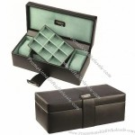 Leather Teal Lined Double Watch & Cufflink Box