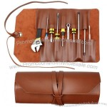 Leather Tool Pouch Wrench Roll/Chisel Bag - Leather Tool Roll Up Pouch