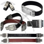 Leather USB Flash Drive, Wristband Style Strap-Plate