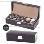 Leather watch box, holds up to six wrist watches, fully lined with velvet