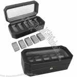 Leather Watch Box With Silver Textured Silk Lining