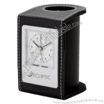 Leatherette Pen Holder & Clock