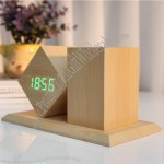 LED Digital Alarm Clock Pen Holder