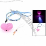 LED Light Neck Strap Plastic Heart Design Self Protection Alarm Pink