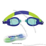 Lens and Gasket-Blue / Strap-Blue and Green - Children's swim goggles with case.
