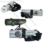 Light up 7-in-1 survival whistle with LED light, green / black.