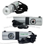 Light up 7-in-1 survival whistle with LED light, silver / black.