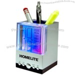 Light Up Clock/Calendar/Pen Holder - Multi Color