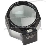 "Lighted 3.5"" Glass Dome Magnifier - 5X Magnification"