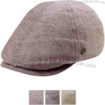 Linen ivy cap featuring elastic closure.