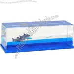 Liquid wave paperweight with floating shark inserts