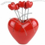 Love Heart Shape Fruit Forks Set