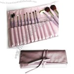 Lovely Purple Makeup Brush with Free Leather Pouch